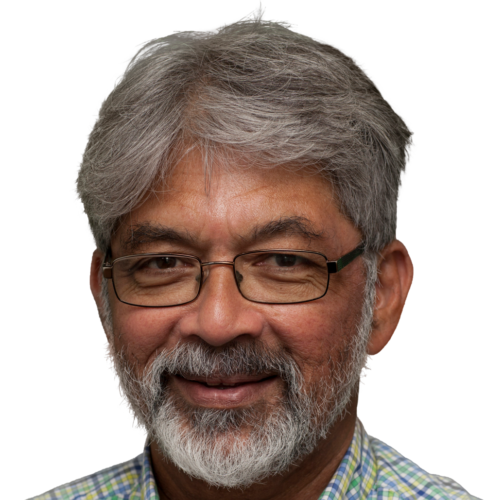 A man half smiles at the camera. He has dark skin, greying hair and a grey beard that is closely cropped to his face. His eyes are dark brown, and he is wearing rectangular glasses with a black frame. He is also wearing a gingham print shirt with light green, dark green, light blue and dark blue stripes.